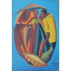 Louis, CF Contemporary Haitian, A Pair: Two Figures and Figure with Basket. Louis, CF Contemporary Haitian, A Pair: Two Figures and Figure with Basket. 24 x 16 ins., (61 x 40.5 cms.), Oil on Canvas, Signed and 16 x 12 ins., (40.5 x 30.5 cms.) Oil on Canvas, Signed.