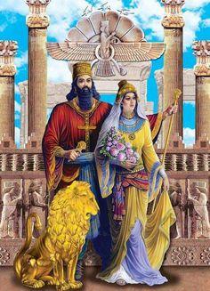 داریوش شاه هخامنشی و ملکه آتوسا (دختر کوروش بزرگ )