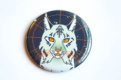 Space Cat Magnet Pin or Pocket Mirror  lynx cat mystical