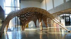 UMN School of Architecture Catalyst 2012 - Gridshell Digital Tectonics - Andrew Kudless, CCA/Matsys, Marc Swackhamer, UMN. Rhino, Grasshopper Kangaroo. Laser-cut corrugated cardboard.