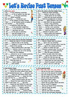 Let's Revise Past Tenses worksheet – Free ESL printable worksheets made by teach… – Grammar English Grammar Tenses, Grammar Quiz, Teaching English Grammar, English Grammar Worksheets, English Writing Skills, English Verbs, English Vocabulary Words, Grammar Lessons, English Lessons