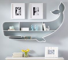 whale-shaped shelf for nursery rooms