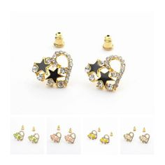 17x15mm Stylish Alloy Acrylic Star Heart Design with Crystal Women Stud Earring Five Colors