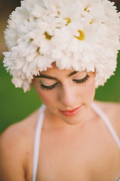 Could flower hats be the new flower crowns? Live flower swim cap   Anna Kim Photography