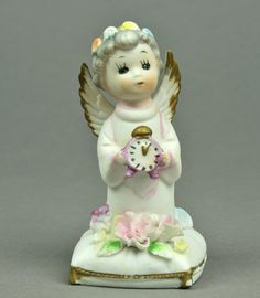 January Birthday Angel with Clock by Napco New by AuntHattiesAttic