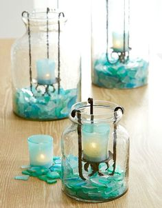 All the calming colors of the sea are mixed into Pier colorful glass combo. Which means you can use our Teal Seaglass Mix to create serene scenes and candlescapes. add flowers, navy runner and shells (starfish? Candle Lanterns, Candle Jars, Candle Holders, Candles, Calming Colors, Vase Fillers, Beach Crafts, Turquoise, Beach House Decor