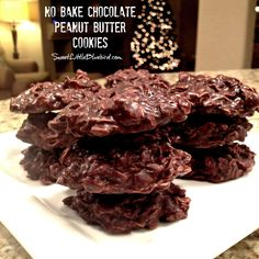 NO BAKE CHOCOLATE PEANUT BUTTER COOKIES - Cinch to make!  Oldie but goodie recipe! | SweetLittleBluebird.com