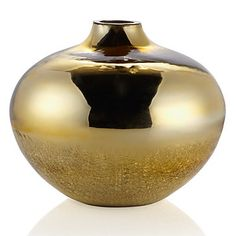 Mouth blown Echo Vase in a smooth gold mirrored glass. $34.95 #ZGallerie