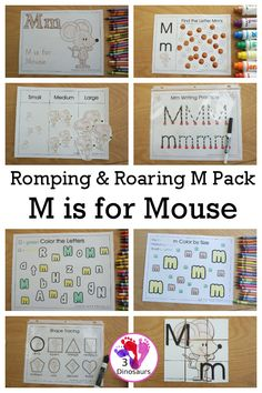 Free Romping & Roaring M Pack Letter Pack: M is for Mouse - a letter m pack that has prewriting, finding letters, tracing letters, coloring pages, shapes, puzzles and more - 3Dinosaurs.com #freeprintable #3dinosaurs #letterm #letterpacks #rompingroaring Learning To Write, Learning Letters, Writing Practice, Kids Learning, Dot Letters, Letters For Kids, Tracing Letters, Letter Activities, Hands On Activities