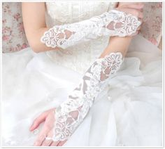 Satin Elbow Length Fingerless Flower Bridal Gloves