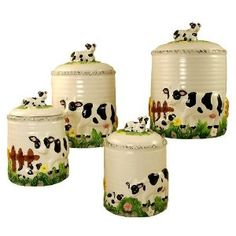 Kitchen Canisters,4PC Canisters set Cow Decor, Farm @Leigh Saville