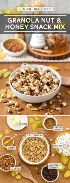 Our 7 Ingredient Gluten Free Granola Nut and Honey Snack Mix is a team favorite. Most probably because all the ingredients are always in the pantry! Throw together one bag of Chex™ granola mix, the popcorn, almonds, butter, brown sugar and honey and microwave for maximum 6 minutes. Spread out and let cool, throwing in the chocolate chips when you're ready to snack-on-down. Yum.