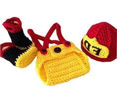 Pinbo® Baby Boys Girls Photography Prop Crochet FD Fireman Hat Diaper Boots