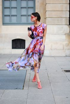 summer dresses, summer styles, floral prints, outfit, watercolor flowers, street styles, dress shoes, floral dresses, style fashion