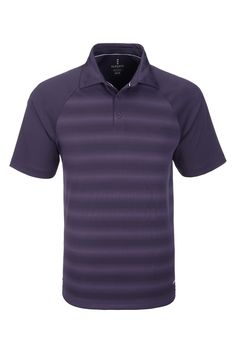Elevate Shimmer Mens Golf Shirt - Striped Purple Golf Shirt