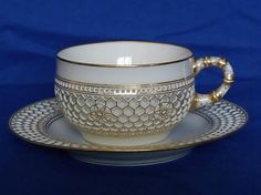 Sevres Cup and Saucer, White and Gold Doré Third Republic circa 1913