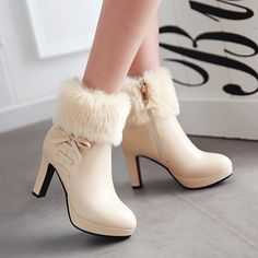 fashion shoes Available Sizes Shaft Height Heel Height Platform Height Heel Height :High Heel Type :Chunky Boot Shaft :Ankle Color :Beige Toe :Round Shoe Vamp :PU Leather Closure :Zipper Black High Heels, Black Ankle Boots, High Heel Boots, Heeled Boots, White Shoes, Ankle Booties, Boots With Heels, Bootie Boots, Beige Boots