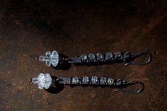 Copper earrings Silver earrings Glass earrings by FlowerOfParadise