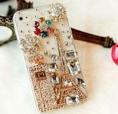 Paris cell phone case--Bling Sparkle Eiffel Tower Perfume Bottle Flowers iPhone 4/4S Case