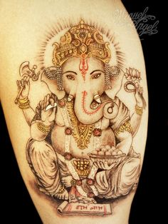 Do you know that Lord Ganesha is the symbol of success? Most people believe that Ganesh tattoo designs help them remove obstacles in life and ward off evil. If you have the same belief, Check out these superb Ganesha tattoos designs and get inked! Ganesh Tattoo, Hindu Tattoos, Arm Tattoos, Body Art Tattoos, Hippie Tattoos, Buddhist Symbol Tattoos, Kali Tattoo, Wicked Tattoos, Buddhist Symbols