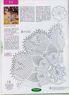 "Photo from album ""Crochet Monthly 262 on Yandex. Crochet Doily Diagram, Crochet Chart, Filet Crochet, Crochet Motif, Crochet Doilies, Knit Crochet, Crochet Books, Crochet Home, Thread Crochet"