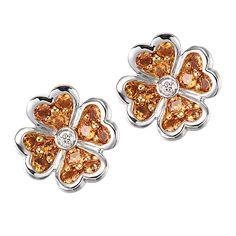 Tasty Flowers -   Orange sapphire white gold stud earrings
