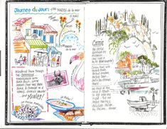 Creative Traveler: Travel Journal Inspiration. Journal art ideas . Journal spread Provence