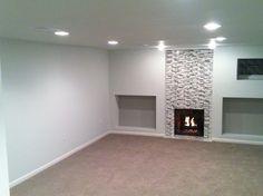 Our basement is almost done! Tile work and carpet are my favorite. Stone Mantel, Basement Carpet, Tile, Decorating, House, Home Decor, Decor, Mosaics, Decoration
