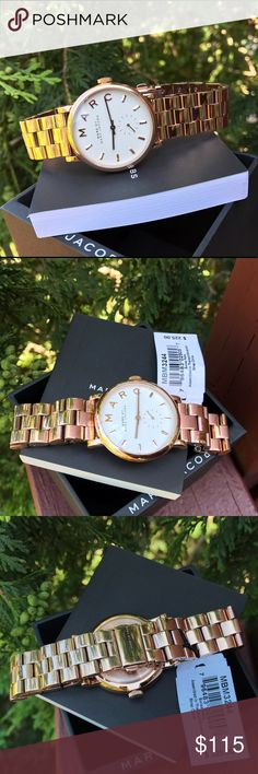 $225 Marc Jacobs Rose Gold Glam Watch MBM3244 🔥 LAST 1! 🔥 Guaranteed Authentic MBM3244 💎 Model: Baker 💎 * Retail: $225 * Rose Gold stainless steel band. 😍 Glam dial 😍 * New with Marc Jacobs watch case and owners booklet included  * 36mm  * 5 ATM  * UPC: 796483029057 ❤️ WHAT A BEAUTY! ❤️ * No trades. Buy now or offer only. Shipped same business day. Marc Jacobs Accessories Watches
