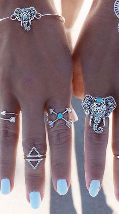 Boho Vintage Elephant Silver Arrow Shape Ring Set Midi Rings 6 PCS