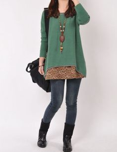 Green cotton sweater/sweater dress/large size knitted sweater/sweatshirt/sweater tops/loose sweater blouse/plus size sweater cotton blouse