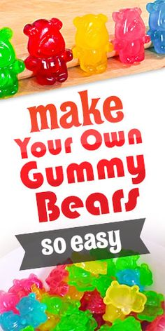 Find out how to make delicious home-made gummy bears with this awesome step-by-step video! Best Gummy Bears, Making Gummy Bears, Homemade Gummy Bears, Homemade Gummies, Homemade Candies, Jello Gummy Bears, Gummi Bears, Homemade Sweets, Jello Recipes