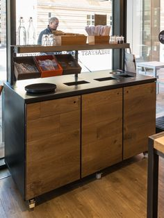 Designed for a coffee shop - perfectly positioned next to the door. Again, on lockable wheels for ease of cleaning and maintenance. Call us on 0845 0700 624 Recycling Station, Recycling Bins, Coffee Bar Home, Coffee Shop, Cafe Design, Interior Design, Recyle, Coffee Carts, Restaurant Design