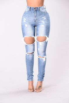 Tear Up The Day Jeans - Medium Wash