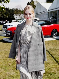 "Emma Stone attends the ""Audi Polo Challenge"" on May 7th, 2017 in Ascot, England."