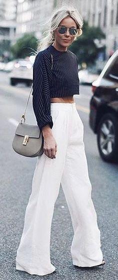 Wide leg pants, striped crop top, and neutral Chloé purse #legs