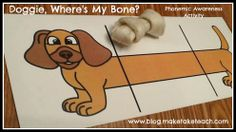 Classroom Freebies: Doggie, Where's My Bone? Phonemic Awareness Freebie!