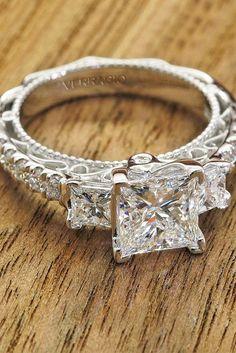 Breathtaking Princess Cut Engagement Rings ❤ See more: http://www.weddingforward.com/princess-cut-engagement-rings/ #weddings