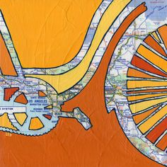 Bike Los Angeles print - bike art, bicycle art print Los Angeles, Santa Monica, Long Beach, Redondo, Manhattan California. all rights reserved © Leslie DeRose 2010-2015 -- Title: Bike Los Angeles Dimensions: 7.25x7.25 image on 8.5x11 paper Medium: Archival print of my original acrylic painting Bike Los Angeles is a print of an original map painting. A vintage map of the Los Angeles area is in the background and a bold silhouette of a bike painted on top. Signature:Front is signed and…