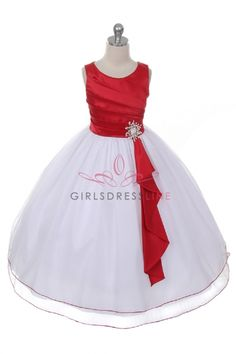 Red/White Satin Surplice Top with Double Layer Tulle Flower Girl Dress Red Flower Girl Dresses, Tulle Flower Girl, Little Girl Dresses, Girls Dresses, Flower Girls, Baby Dresses, Junior Bridesmaid Dresses, Pageant Dresses, Tulle Dress