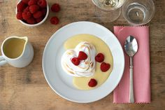 For Valentines Day!  Jenny Steffen Hobick's Warm Vanilla Bean Custard with Creamy Meringues