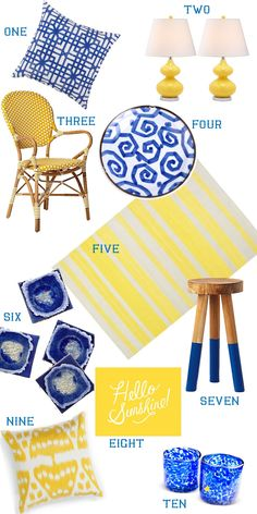 Cobalt blue and lemon yellow make such a cheerful color combo for any room! On Life with a Dash of Whimsy Blue Yellow, Lemon Yellow, Blue And White, Yellow Office, Bleu Cobalt, Bedroom Green, Color Combos, Blue Stripes, Computer Lessons