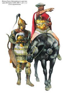 Реконструкция представляет предполагаемый внешний вид воинов Грекобактрийского царства (с 206 г. до н. э. на правах вассального в составе Се левкидской державы).