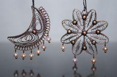 Pearl moon and sun handmade filigree earrings
