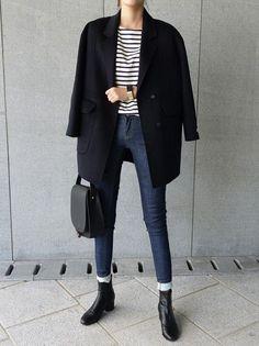 Бретонская полоска, кардиган, узкие джинсы, парижский стиль.