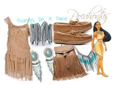 """""""Pocahontas Outfit"""" by amylettre ❤ liked on Polyvore featuring House of Harlow 1960, Aniye By, Disney, Minnetonka, princess, pocahontas, disneybound, colorsofthewind and DisneyOnADime"""