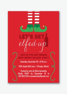 let's get elfed up holiday party invitation by sstremmingdesigns