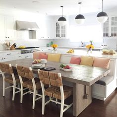 32 Popular Kitchen Island With Seating Ideas - After many years with the same kitchen layout, you probably want to make some changes for a fresher look. There are many ways to do this and kitchen i. Home Decor Kitchen, Beautiful Kitchens, Kitchen Design, Kitchen Island With Seating, Kitchen Island Design, Kitchen Seating, Kitchen Remodel, Kitchen Renovation, Kitchen Layout