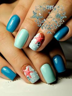 Beach Inspired Nail Art Idea. Pop up your nails with these friendly little starfish atop the beach themed nails and dewy touch. This beautiful beach inspired nail art design is perfect for summer holiday nails.