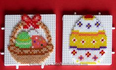 Easter egg and basket hama mini beads by Rachel - Mes Petits Bonheurs Hama Beads Design, Hama Beads Patterns, Beading Patterns, Pearler Beads, Fuse Beads, Harry Potter Perler Beads, Hama Mini, Easter Egg Pattern, Art Perle